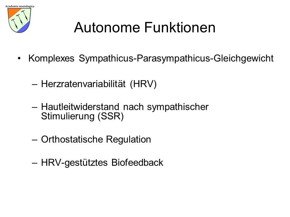 Autonome Funktionen Komplexes Sympathicus-Parasympathicus-Gleichgewicht. Herzratenvariabilität (HRV)
