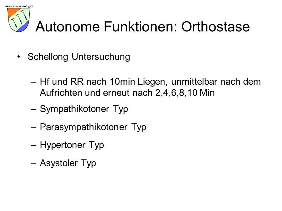 Autonome Funktionen: Orthostase