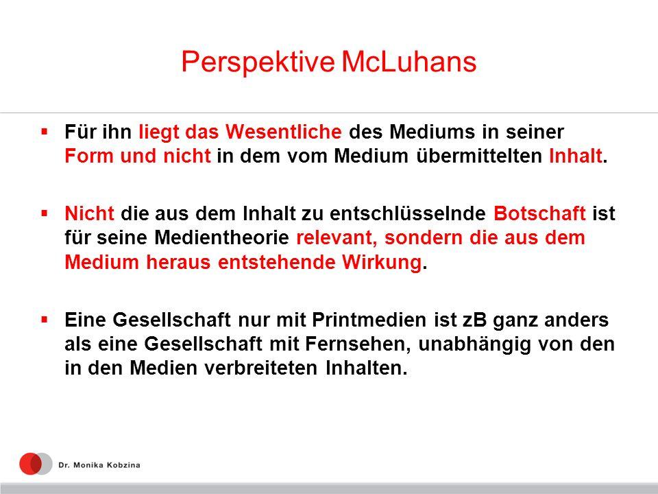 Perspektive McLuhans Für ihn liegt das Wesentliche des Mediums in seiner Form und nicht in dem vom Medium übermittelten Inhalt.