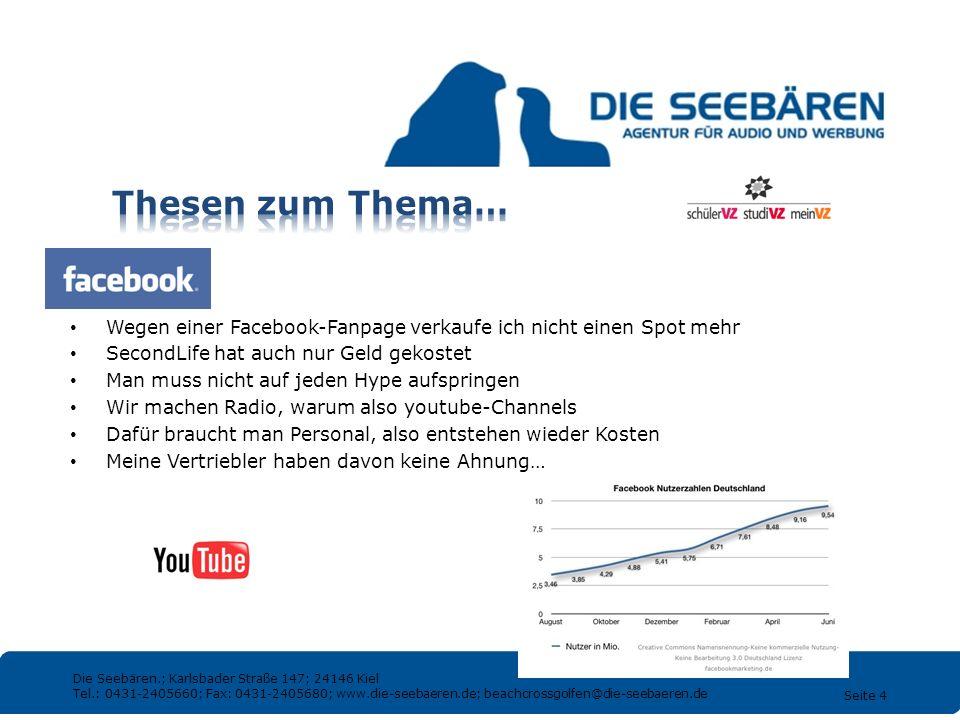 Thesen zum Thema… Wegen einer Facebook-Fanpage verkaufe ich nicht einen Spot mehr. SecondLife hat auch nur Geld gekostet.
