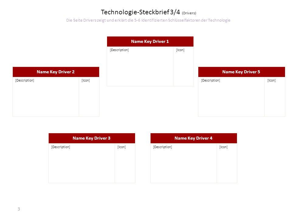 Technologie-Steckbrief 3/4 (Drivers) Die Seite Drivers zeigt und erklärt die 5-6 identifizierten Schlüsselfaktoren der Technologie
