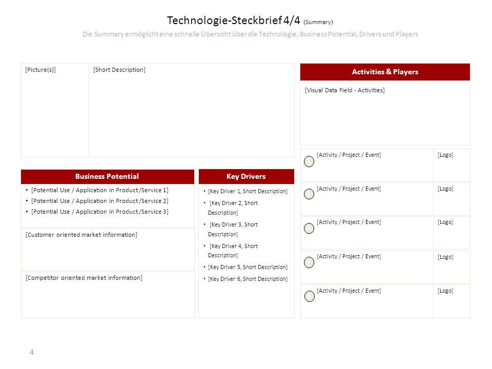 Technologie-Steckbrief 4/4 (Summary) Die Summary ermöglicht eine schnelle Übersicht über die Technologie, Business Potential, Drivers und Players