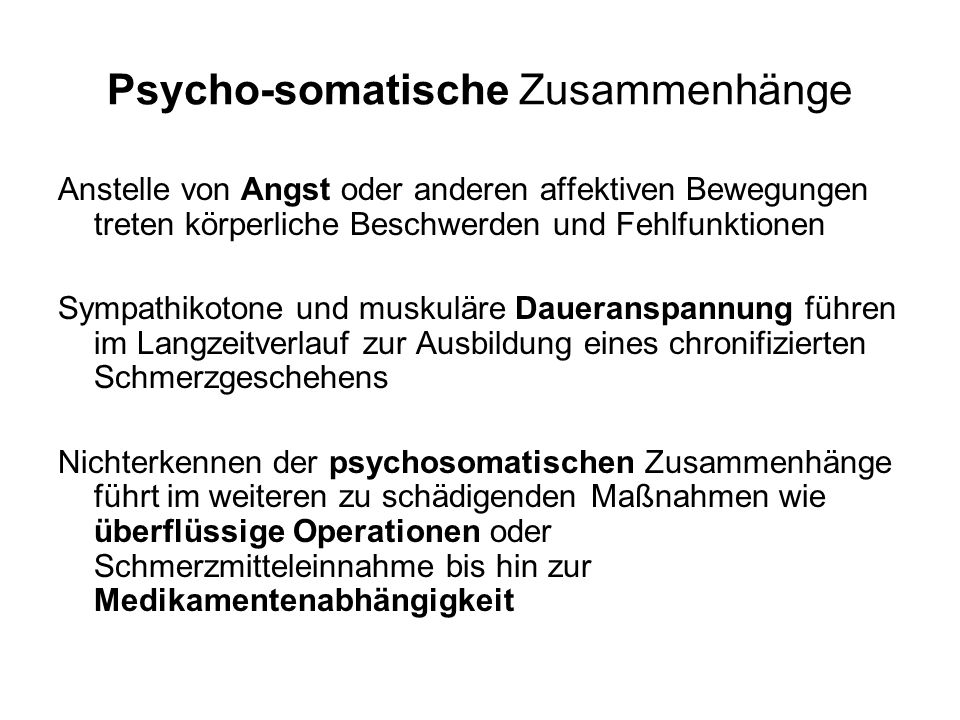 Psycho-somatische Zusammenhänge