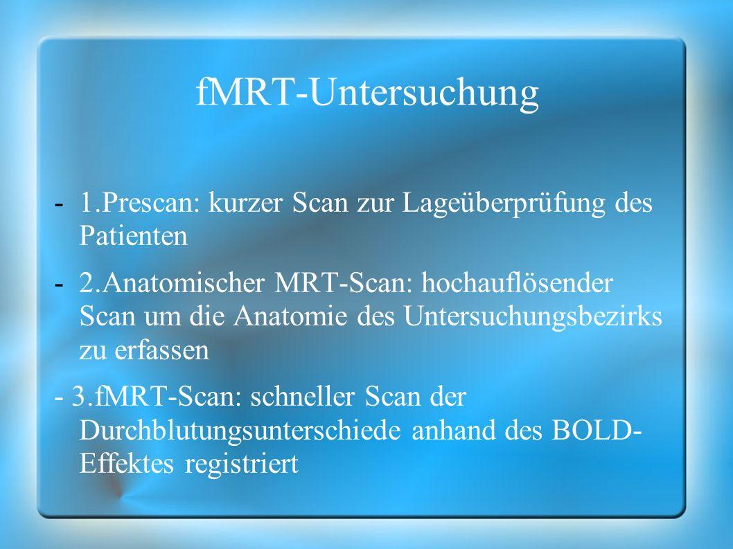 fMRT-Untersuchung 1.Prescan: kurzer Scan zur Lageüberprüfung des Patienten.