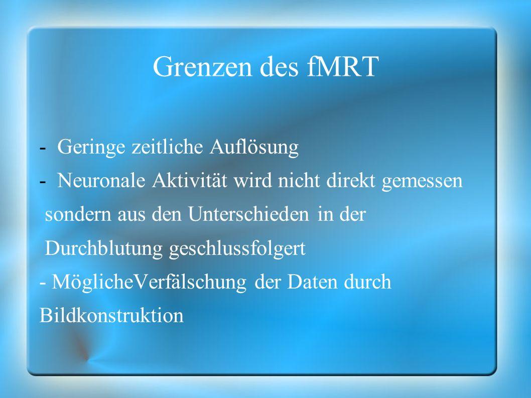 Grenzen des fMRT Geringe zeitliche Auflösung