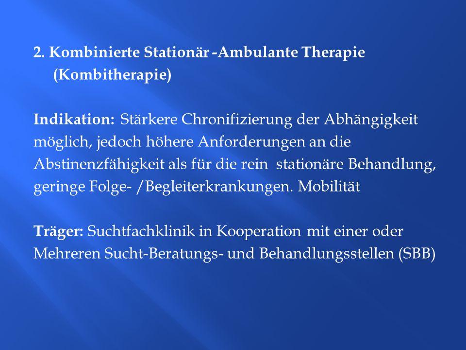 2. Kombinierte Stationär -Ambulante Therapie (Kombitherapie)