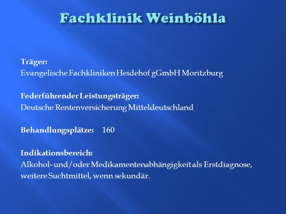 Fachklinik Weinböhla Träger:
