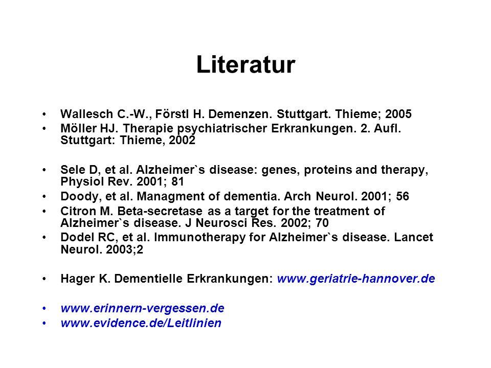 Literatur Wallesch C.-W., Förstl H. Demenzen. Stuttgart. Thieme; 2005