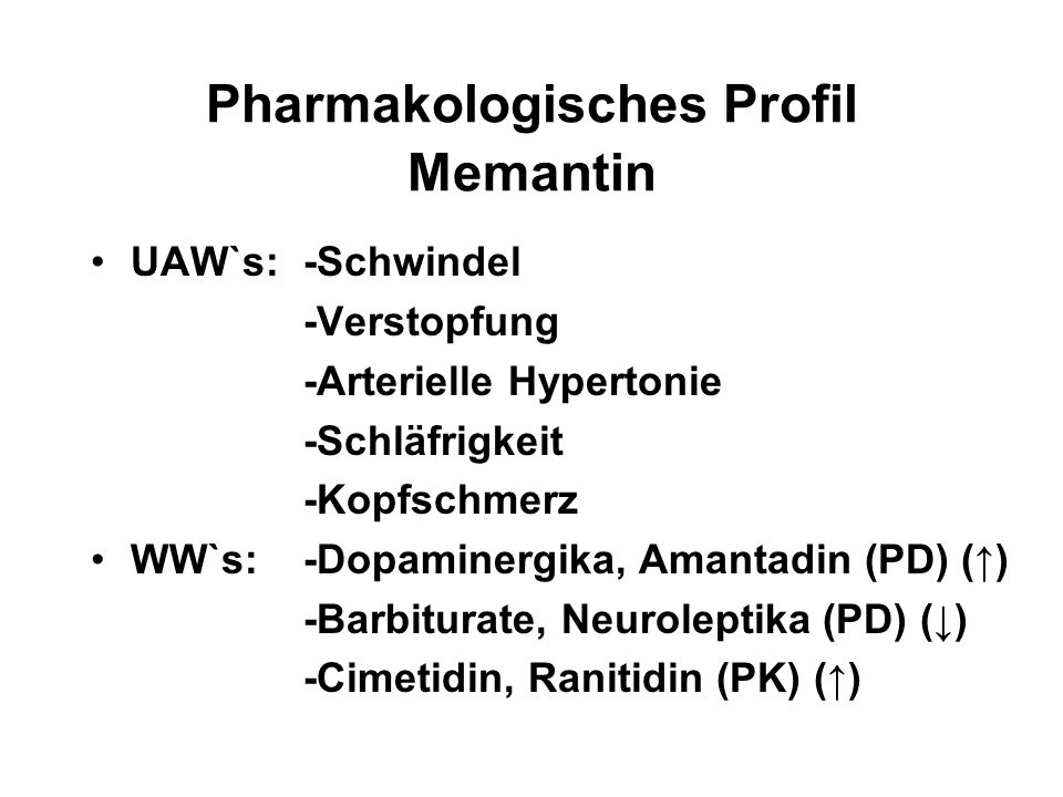 Pharmakologisches Profil Memantin