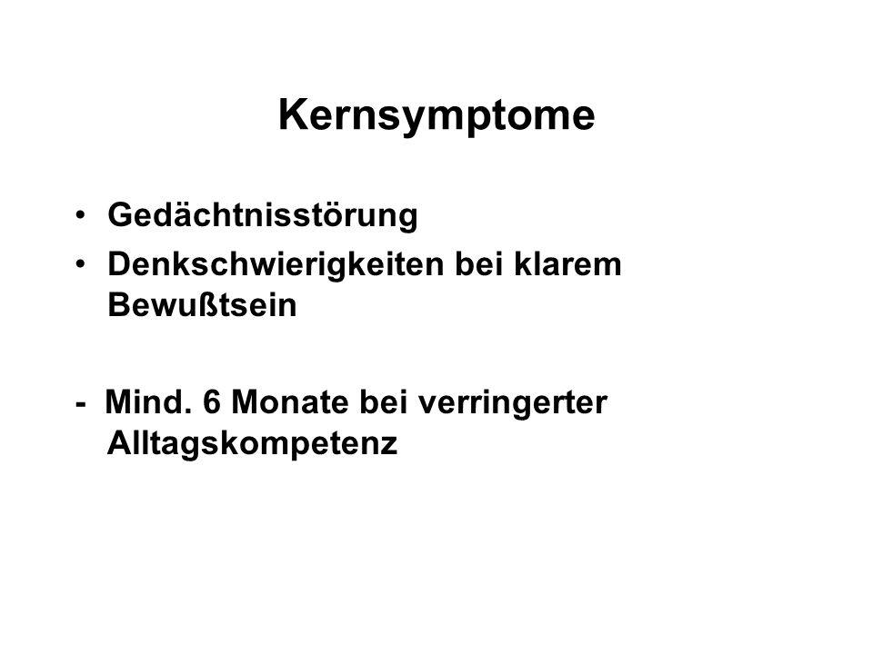 Kernsymptome Gedächtnisstörung
