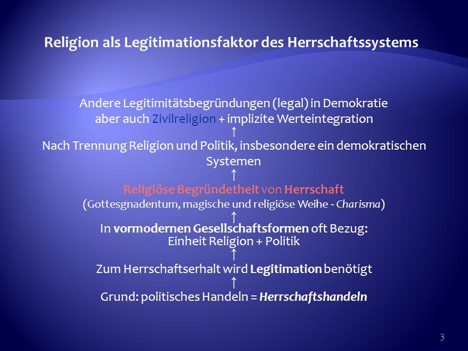 Religion als Legitimationsfaktor des Herrschaftssystems