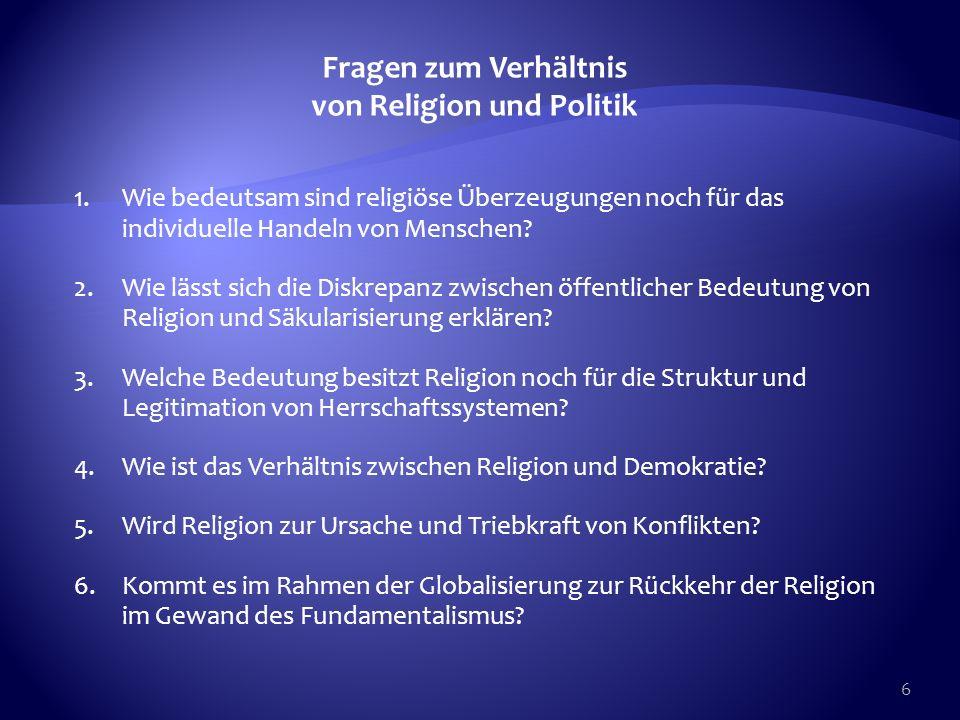 Fragen zum Verhältnis von Religion und Politik
