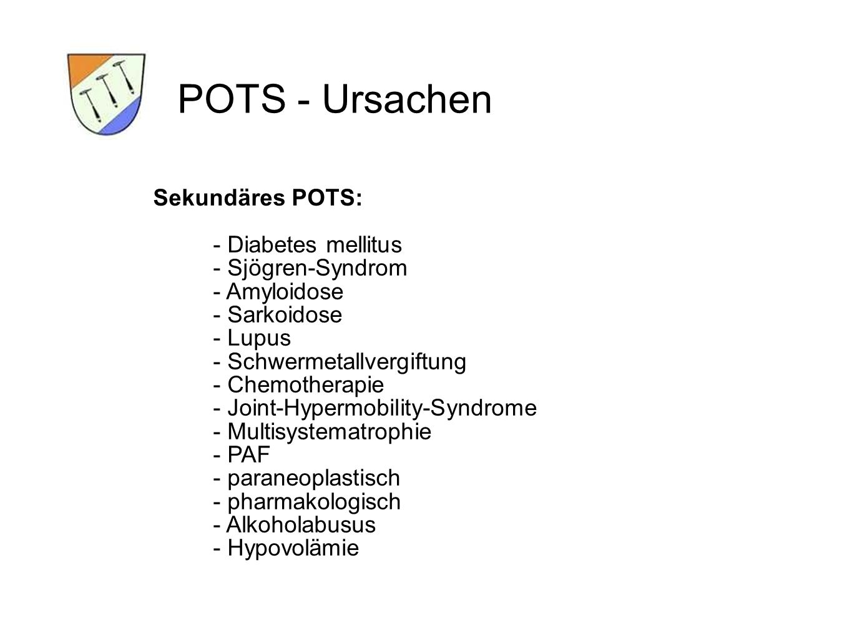 POTS - Ursachen Sekundäres POTS: - Diabetes mellitus - Sjögren-Syndrom