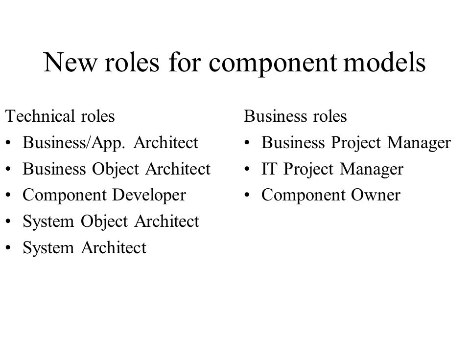 New roles for component models