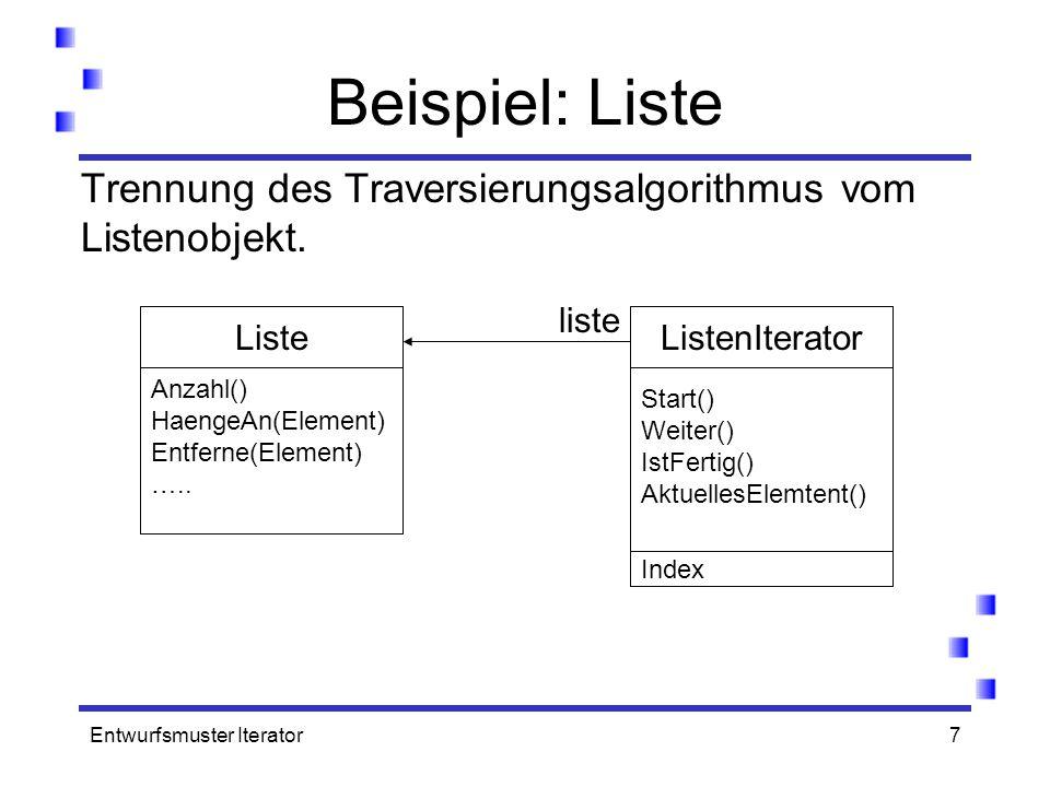 Beispiel: Liste Trennung des Traversierungsalgorithmus vom