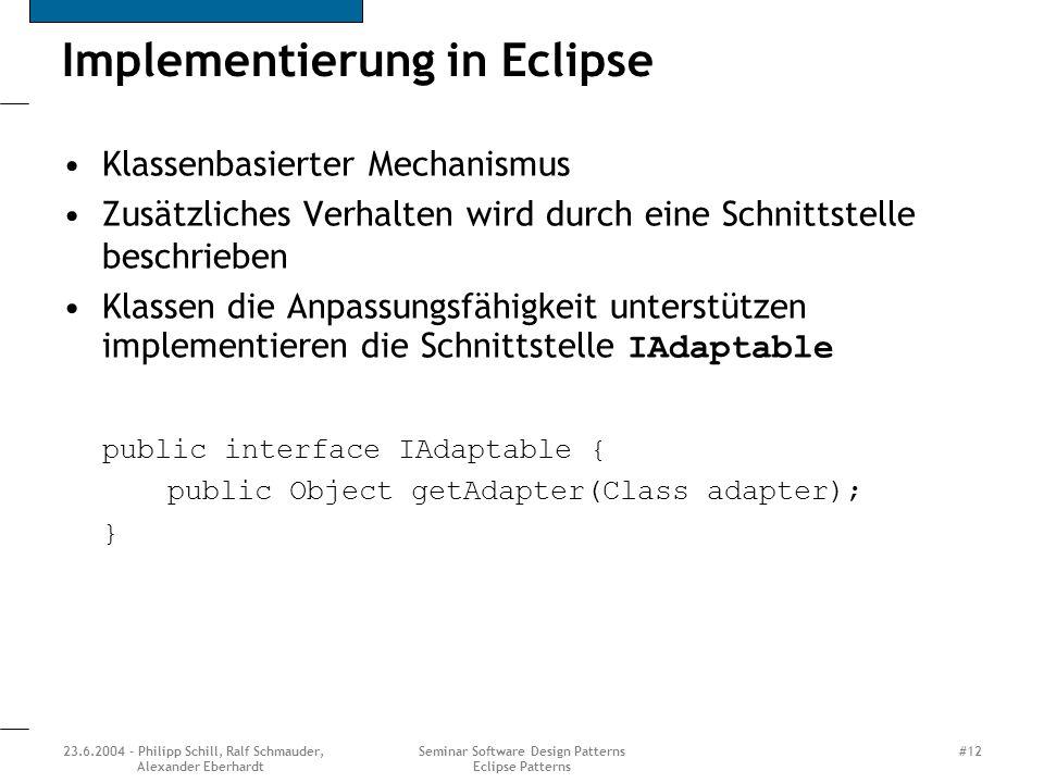 Implementierung in Eclipse