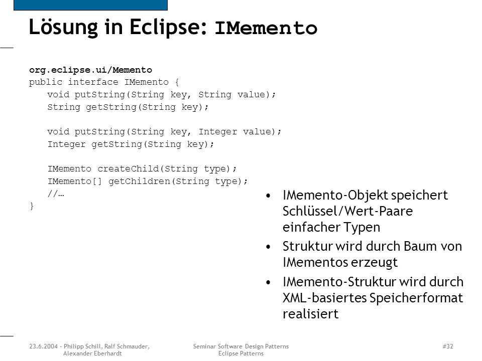 Lösung in Eclipse: IMemento