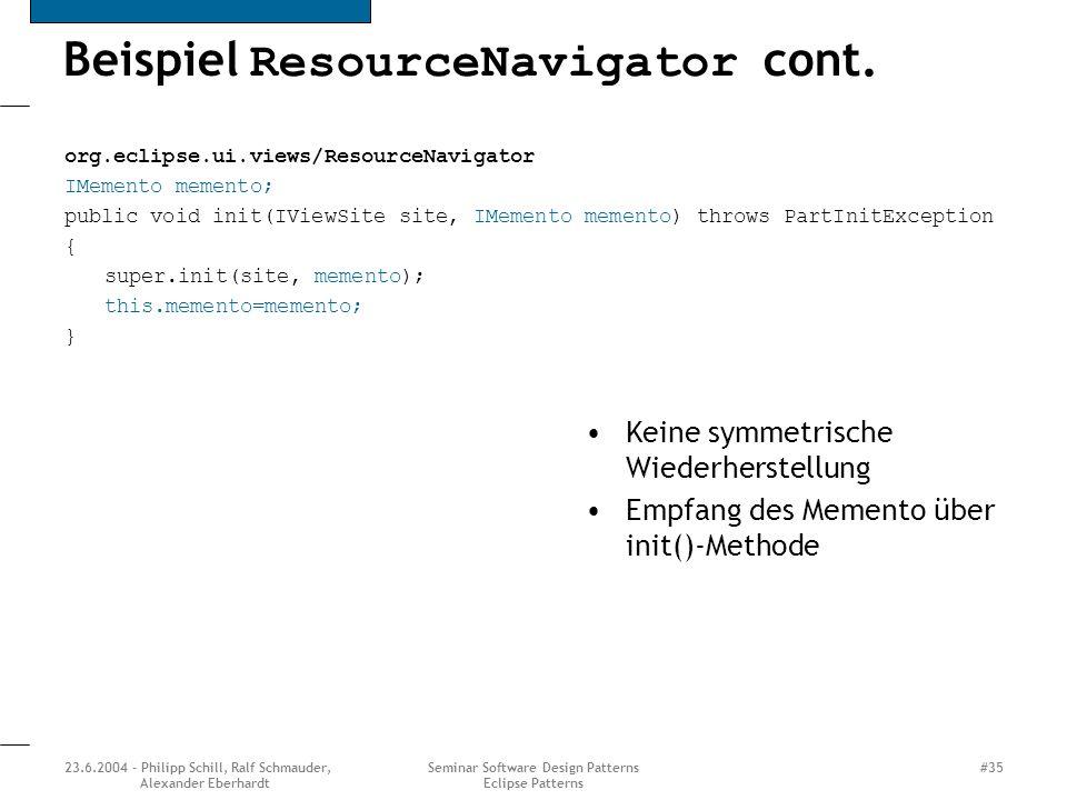 Beispiel ResourceNavigator cont.