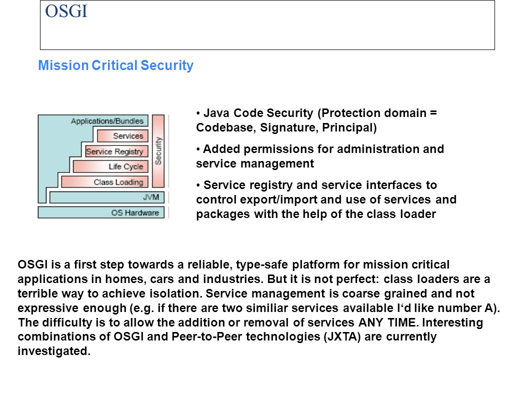 OSGI Mission Critical Security