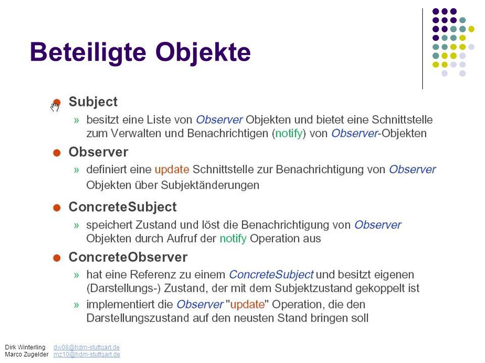 Beteiligte Objekte Dirk Winterling dw08@hdm-stuttgart.de