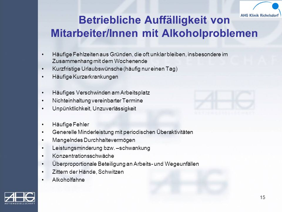 Betriebliche Auffälligkeit von Mitarbeiter/Innen mit Alkoholproblemen