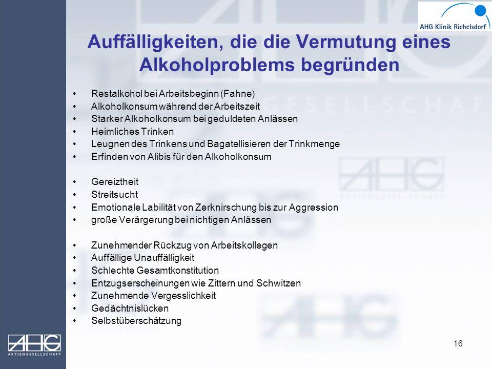 Auffälligkeiten, die die Vermutung eines Alkoholproblems begründen