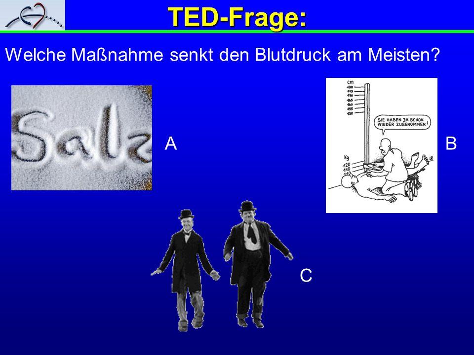 TED-Frage: Welche Maßnahme senkt den Blutdruck am Meisten A B C