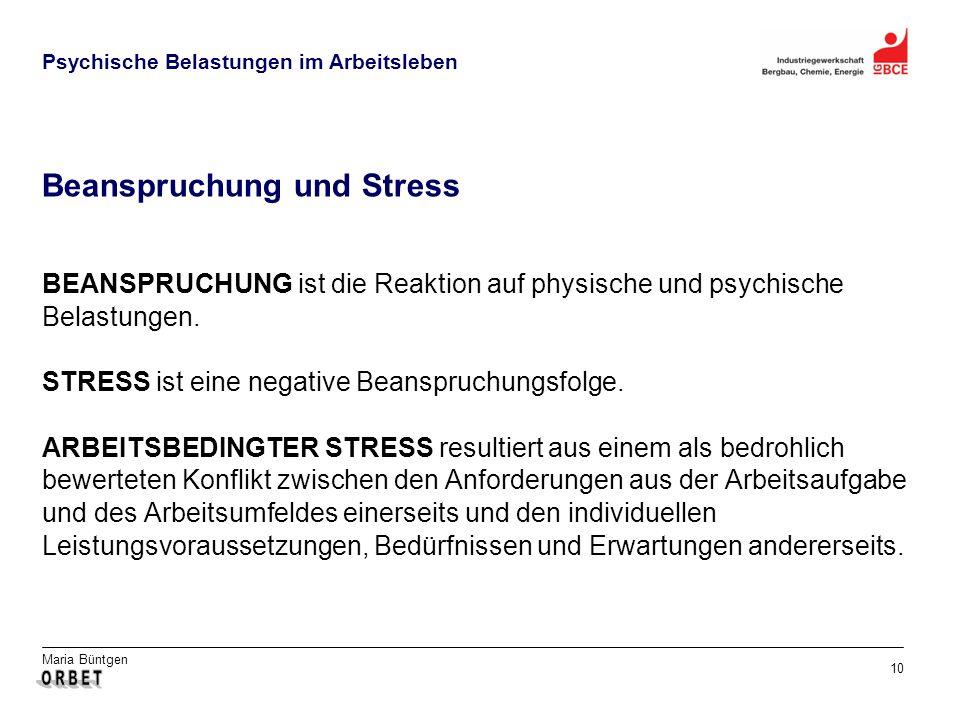 Beanspruchung und Stress