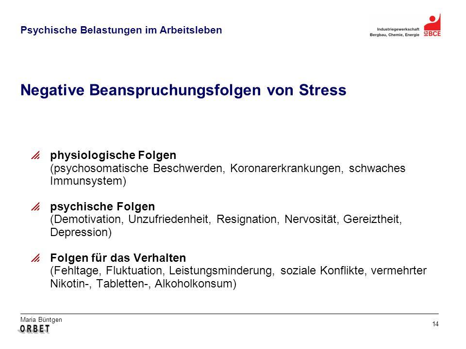 Negative Beanspruchungsfolgen von Stress