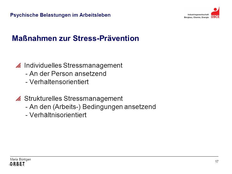 Maßnahmen zur Stress-Prävention