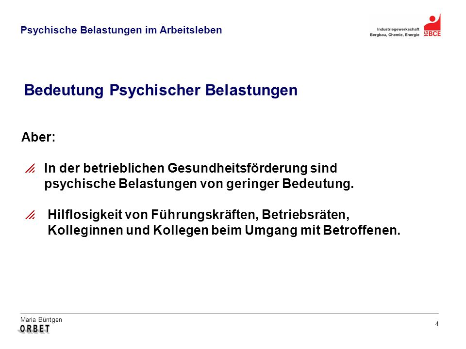 Bedeutung Psychischer Belastungen