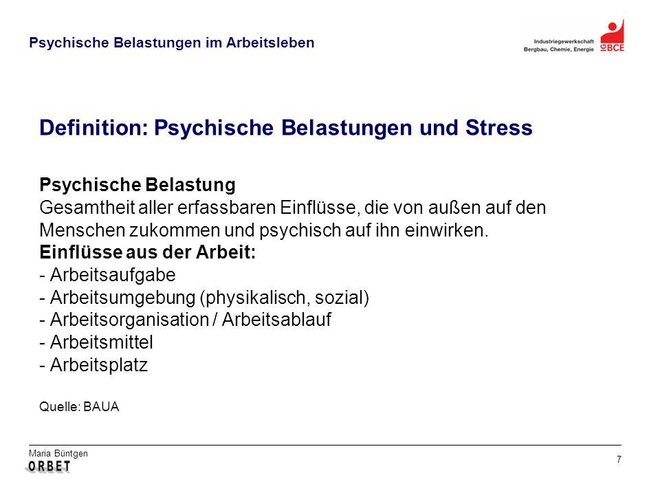 Definition: Psychische Belastungen und Stress
