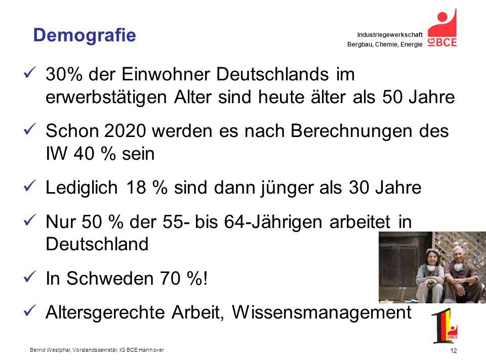 Demografie 30% der Einwohner Deutschlands im erwerbstätigen Alter sind heute älter als 50 Jahre.