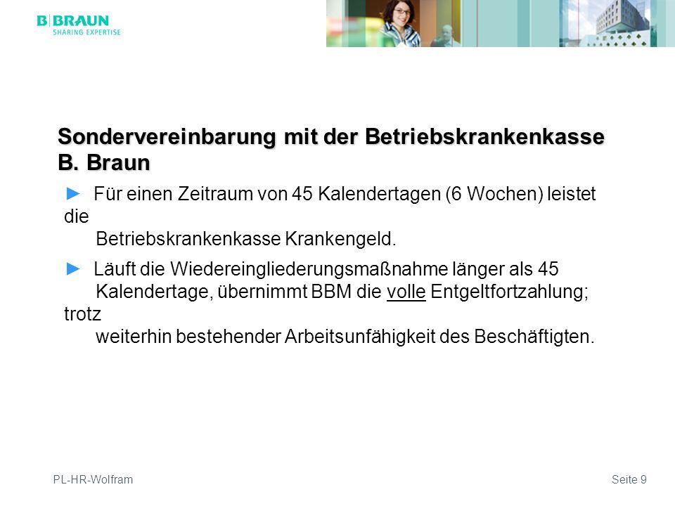 Sondervereinbarung mit der Betriebskrankenkasse B. Braun