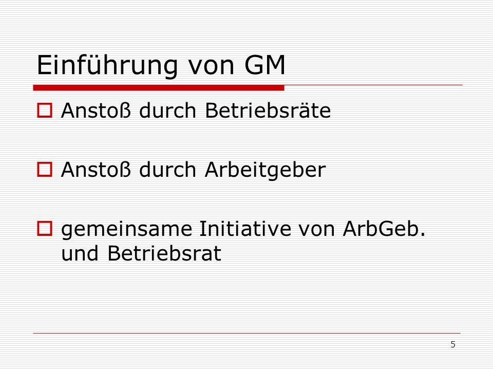 Einführung von GM Anstoß durch Betriebsräte Anstoß durch Arbeitgeber
