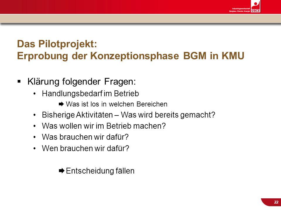 Das Pilotprojekt: Erprobung der Konzeptionsphase BGM in KMU