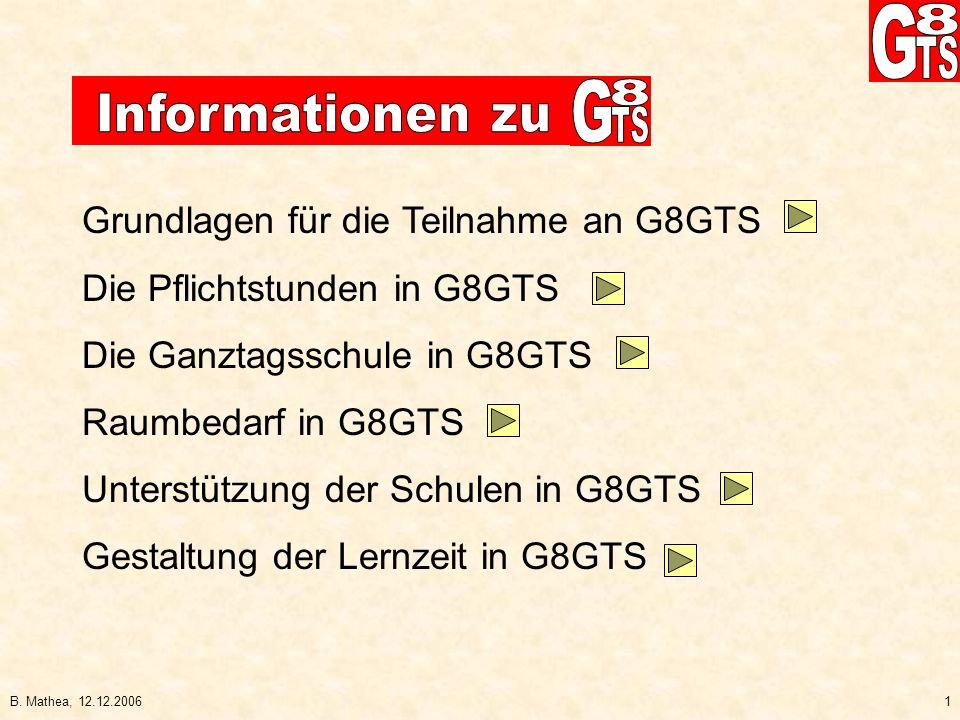 Grundlagen für die Teilnahme an G8GTS Die Pflichtstunden in G8GTS