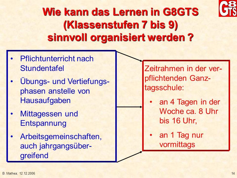 Wie kann das Lernen in G8GTS sinnvoll organisiert werden