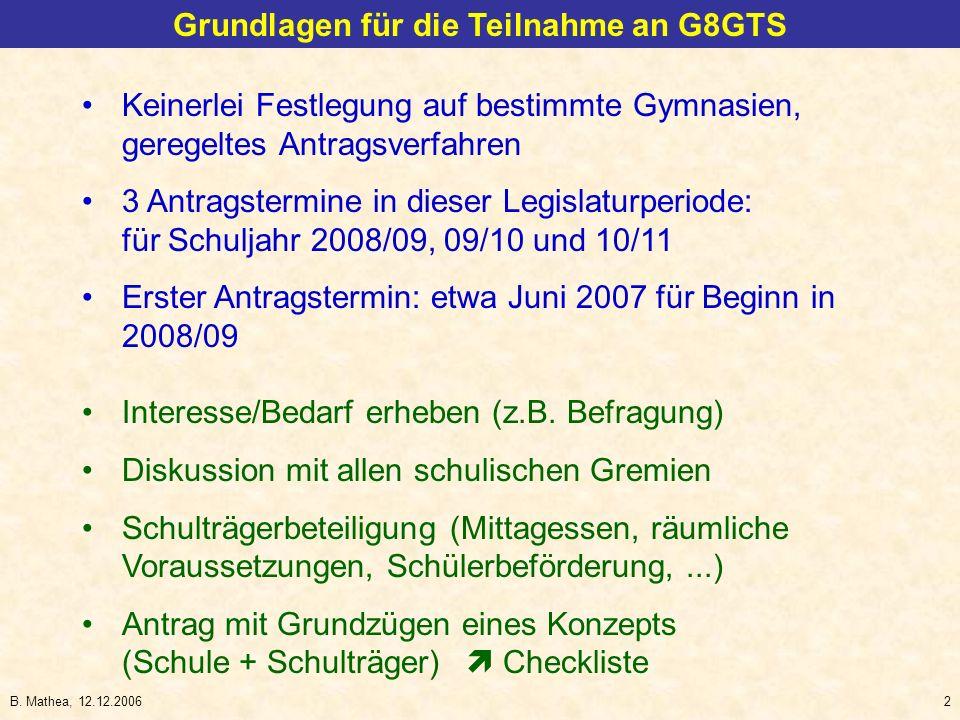 Grundlagen für die Teilnahme an G8GTS
