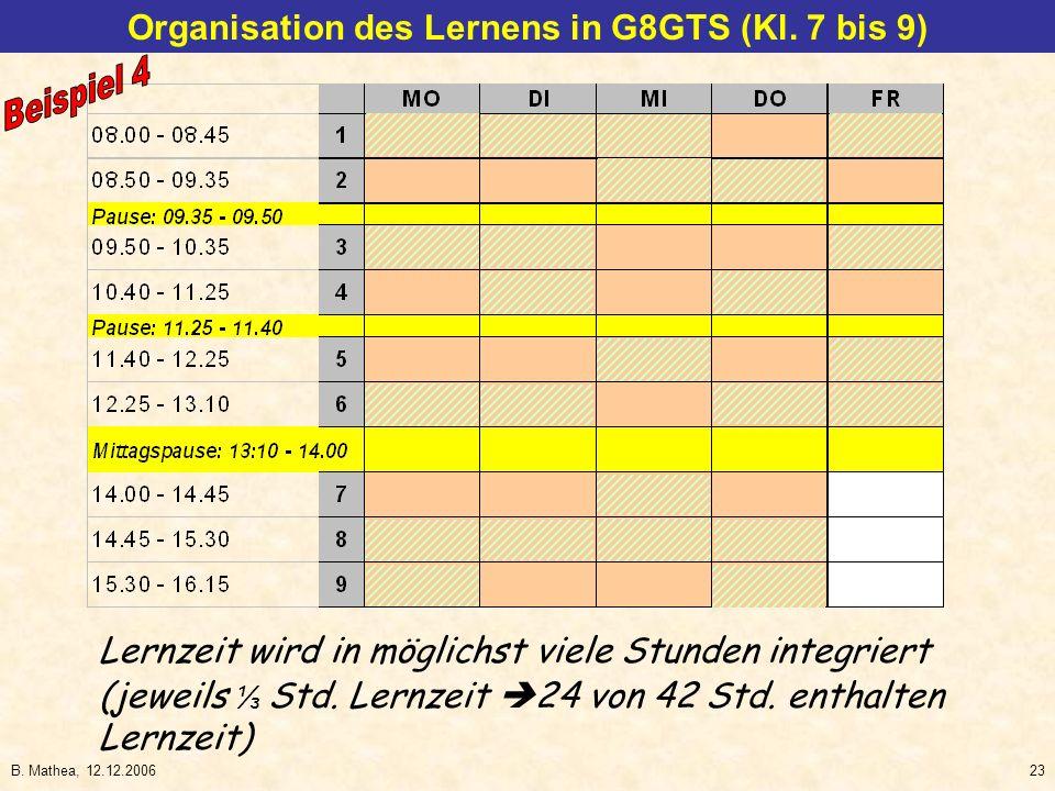 Organisation des Lernens in G8GTS (Kl. 7 bis 9)