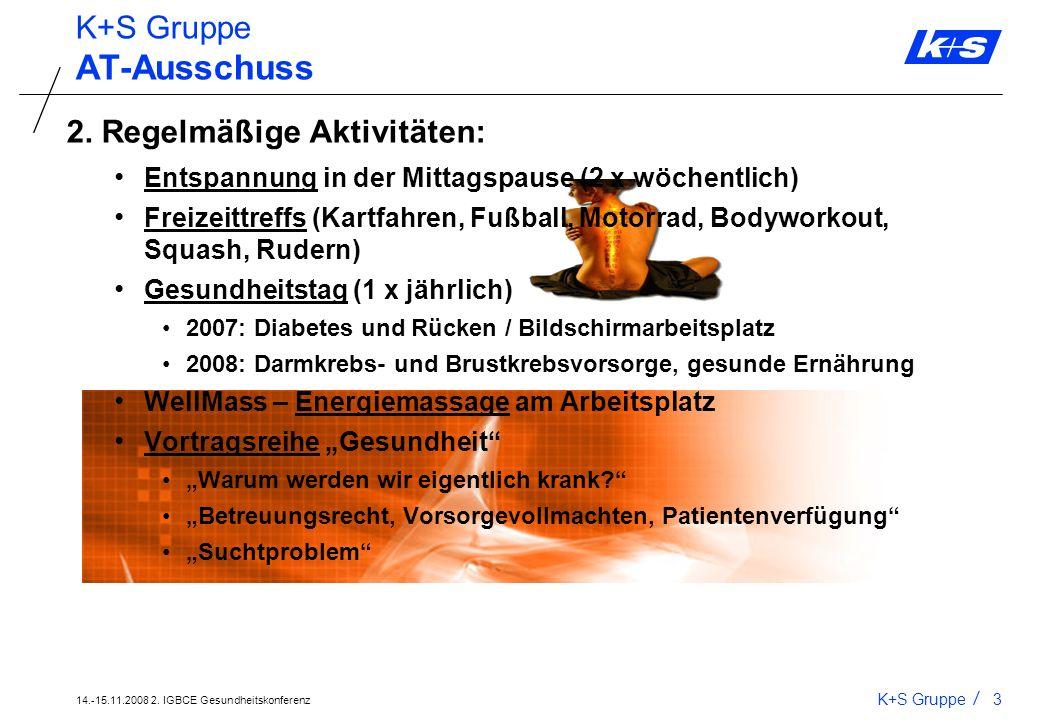 AT-Ausschuss K+S Gruppe 2. Regelmäßige Aktivitäten:
