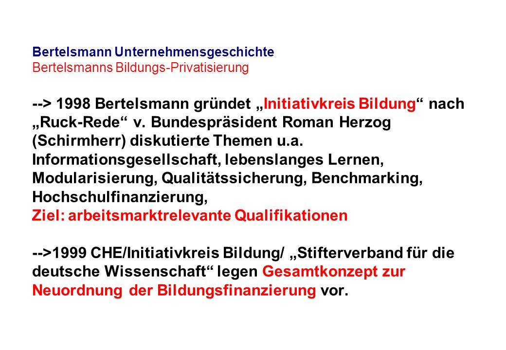 "Bertelsmann Unternehmensgeschichte Bertelsmanns Bildungs-Privatisierung --> 1998 Bertelsmann gründet ""Initiativkreis Bildung nach ""Ruck-Rede v."