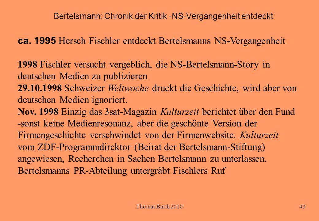 Bertelsmann: Chronik der Kritik -NS-Vergangenheit entdeckt