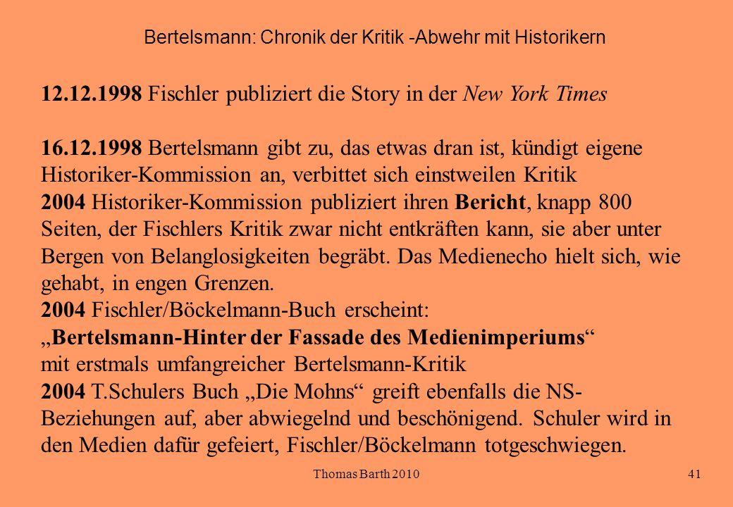 Bertelsmann: Chronik der Kritik -Abwehr mit Historikern