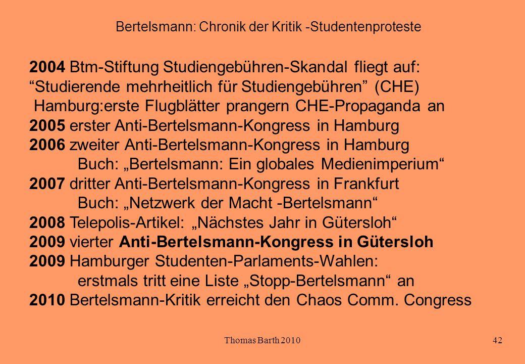 Bertelsmann: Chronik der Kritik -Studentenproteste