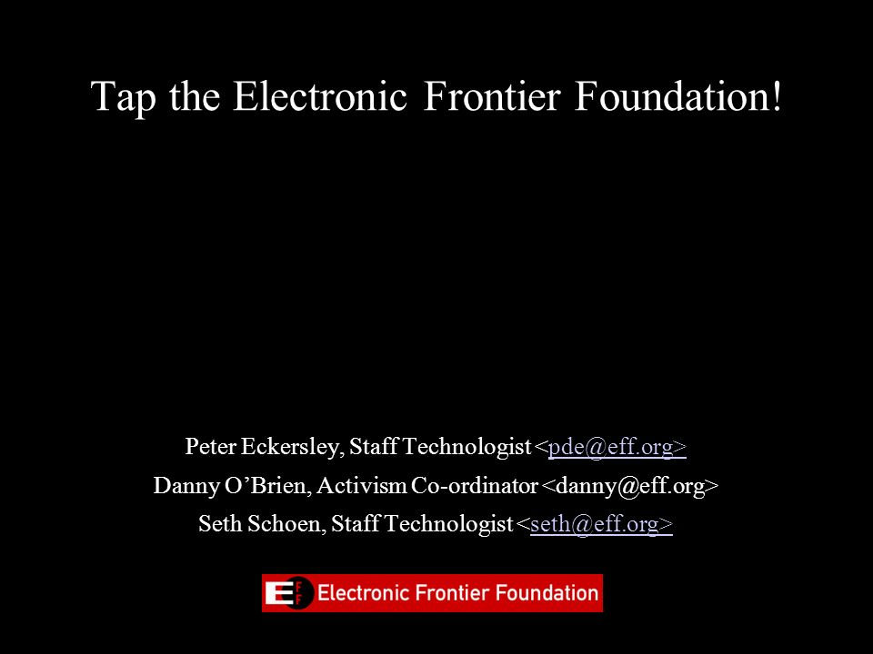 Tap the Electronic Frontier Foundation!