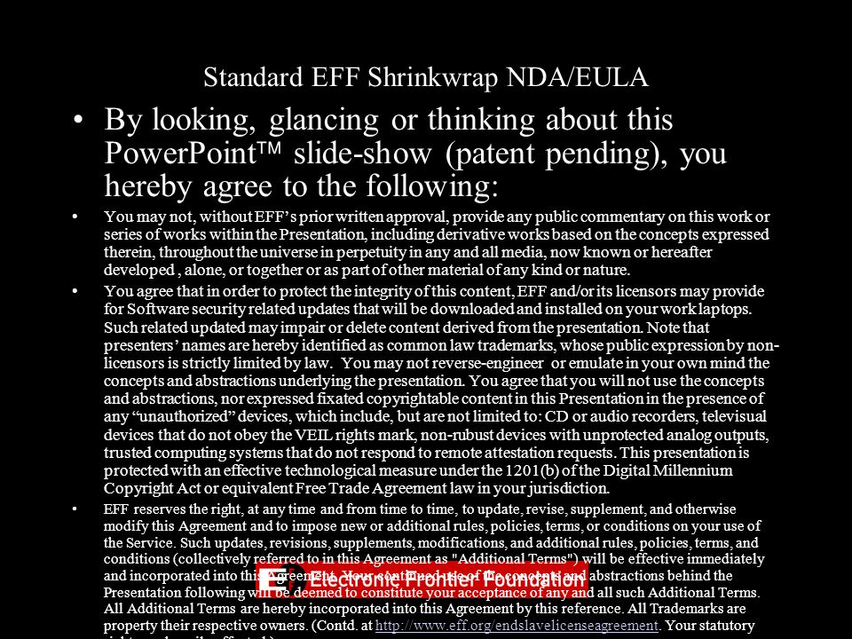 Standard EFF Shrinkwrap NDA/EULA