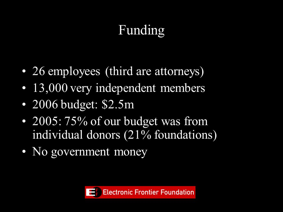 Funding 26 employees (third are attorneys)