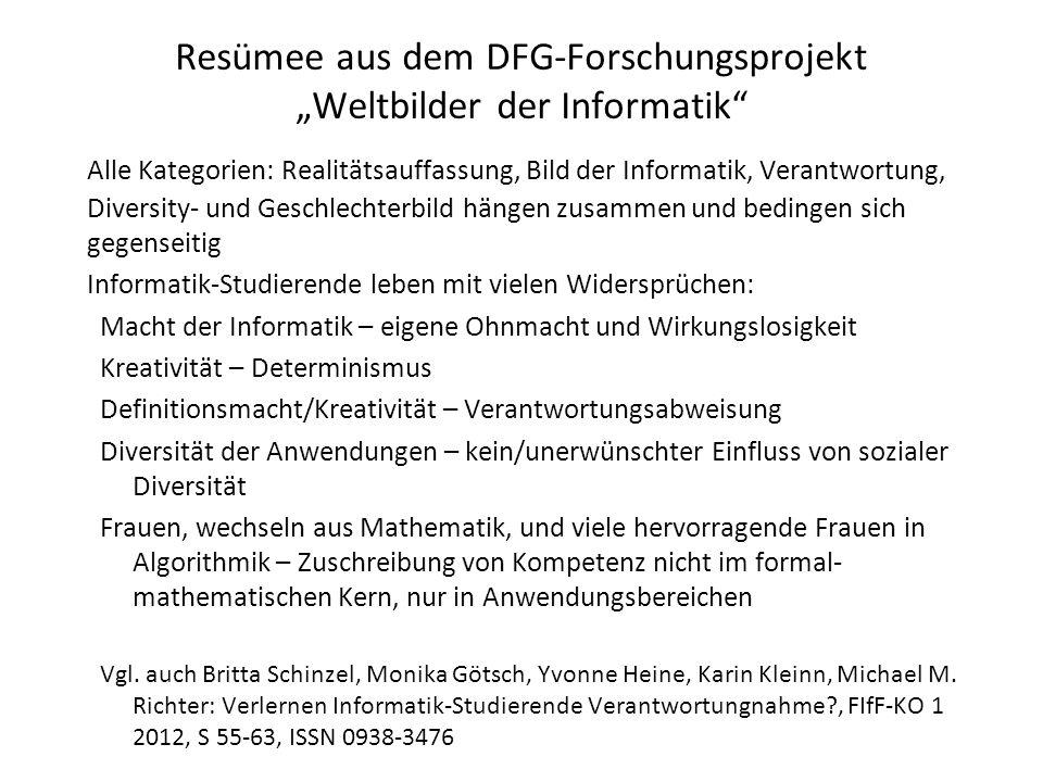"Resümee aus dem DFG-Forschungsprojekt ""Weltbilder der Informatik"