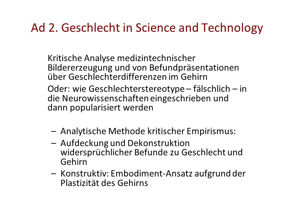 Ad 2. Geschlecht in Science and Technology